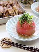 チャチャっとできる♬白だし仕立てのトマトのおひたし