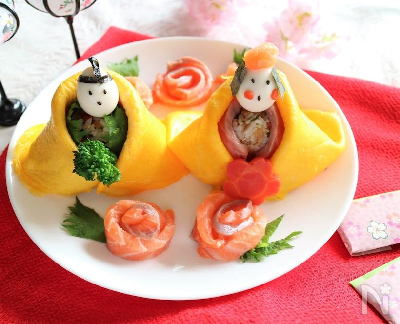 おひな様と茶巾寿司
