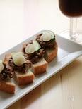 パンでおつまみ☆牛肉とらっきょうのタルティーヌ