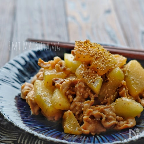 *冬瓜と豚肉のにんにく味噌炒め*