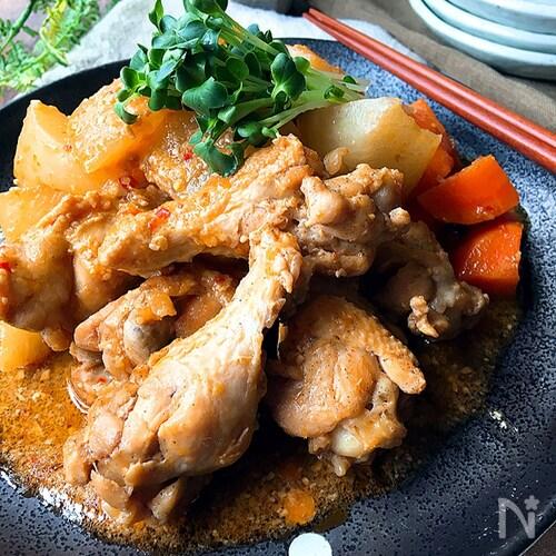食べ応えのある*鶏手羽元と大根のピリ辛煮