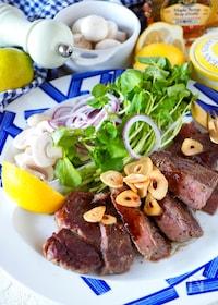 『【冷凍肉をジューシーに】サーロインステーキメイプルバター醤油』
