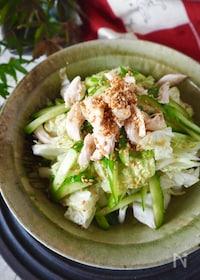 『やみつき!主菜になる白菜【レンジ蒸し鶏と白菜のうま塩ナムル】』