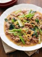 豚こまと小松菜のオイスター煮