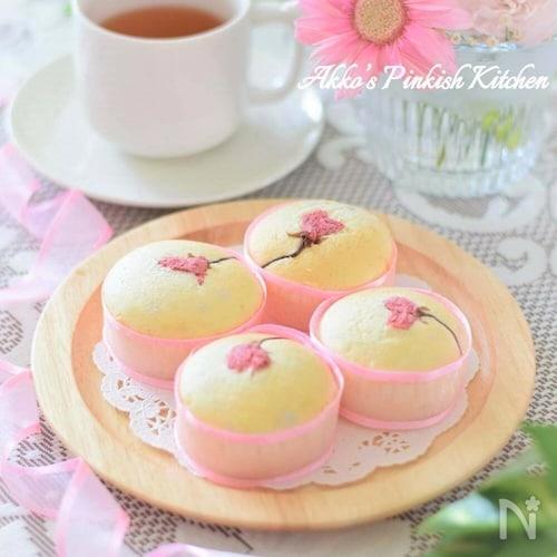 春爛漫♡桜のホワイトカップケーキ♪お花見スイーツ