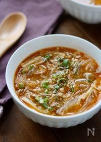 『ひき肉とえのきのチゲ風スープ』