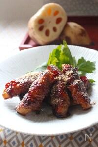 黒酢とすりごまの こっくり肉巻きれんこん炒め。
