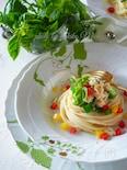 【簡単パスタ】帆立水煮缶とオクラの冷製スパゲッティ