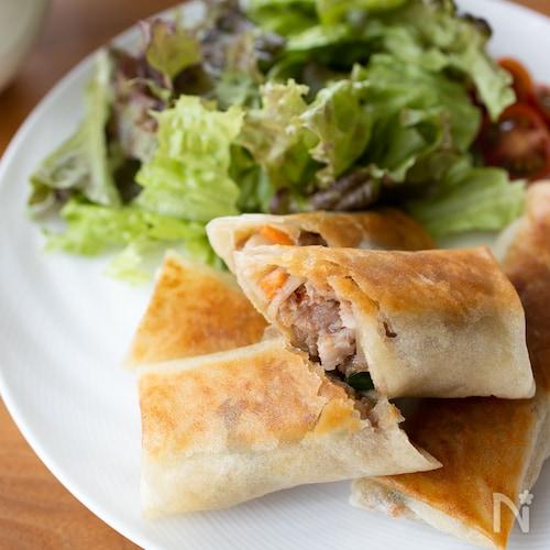 『豚と彩り野菜の焼き春巻き』#揚げない#フライパン#お弁当
