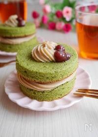 『フライパン&レンジで!抹茶黒蜜ケーキ[小麦・乳不使用]』