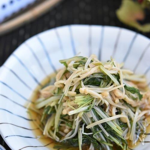 水菜とえのきのレンジ煮浸し【作り置き】