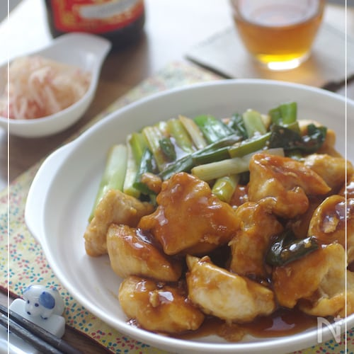 鶏むねとわけぎの黒酢煮
