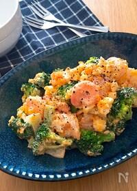 『レンチンで簡単♡プリプリ海老とブロッコリーのたまごサラダ』