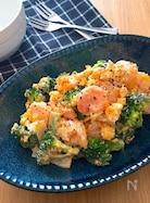 レンチンで簡単♡プリプリ海老とブロッコリーのたまごサラダ