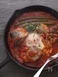 サバ缶で簡単トマトと卵のかるい煮込み