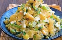 小松菜とたくあんとゆで卵の和風ポテトサラダ