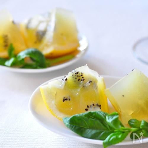 ビタミンカラーのキウイグレープフルーツゼリー