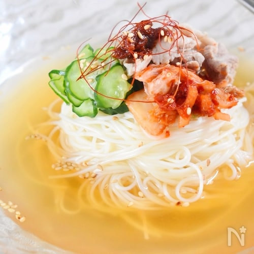 「そうめん」で!韓国風キムチ冷麺