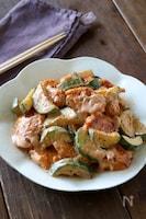 鶏むね肉とズッキーニのケチャマヨ炒め