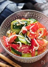 『トマトときゅうりとしらすのうまだしサラダ【#作り置き】』