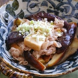 茄子と豚バラと絹厚揚げのさっぱりとろみ炒め