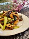 鮭と小松菜のバタポン炒め