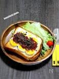 朝からさっくり食パンで「コンビーフとゆで卵のオープンサンド」