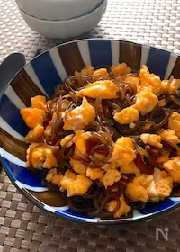 『レンチン調理・意外な組み合わせが美味しい♡甘辛糸こん炒り卵』