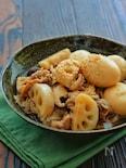 めんつゆ使用で簡単に!*豚肉と蓮根とゆで卵のこっくり煮*