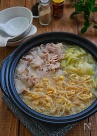 『簡単絶品スープの*豆もやしとキャベツと豚バラ鍋*』