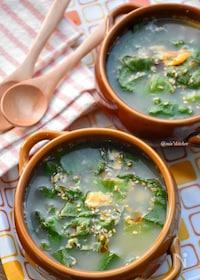 『【捨てないレシピ】レタスの外側の葉de基本の鶏ガラ卵スープ♪』