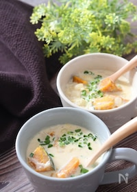 『かぼちゃ豆乳スープ第2弾♡ゴロゴロかぼちゃ和風豆乳味噌スープ』
