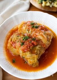 『『ロールキャベツのトマト煮込み』#自家製トマトソース#春』