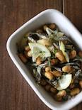 大豆と煮干しの簡単炒めマリネ。