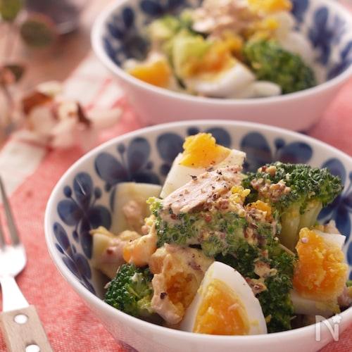ブロッコリーと半熟卵のハニーマスタードサラダ