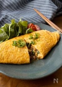 『ご飯に合う!納豆と長芋のふわとろオムレツ』