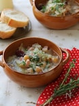 ベーコンキャベツとお豆のスープ。