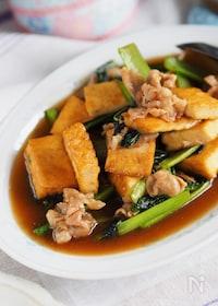 『【ごはんががっつり食べたい!】小松菜と厚揚げのオイスター炒め』