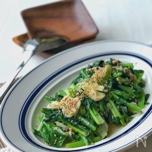 風邪予防!*小松菜とツナの生姜にんにくネギ炒め*