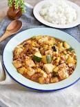 ご飯がすすむ!ズッキーニとコーンの麻婆豆腐*カレー風味
