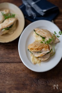 鶏胸肉の和風ほうれん草チーズサンド。