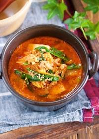 『煮るだけ5分♪『豆腐とキムチのコクうま味噌スープ』』