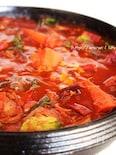 すき焼き鍋で少ないスパイスでポルシチ風