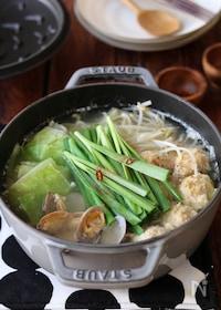 『鶏団子とあさりの塩ちゃんこ鍋。』