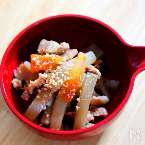 うどと豚バラ肉の煮物