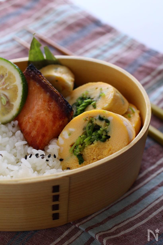 なげわっぱのお弁当に入った豆苗を巻いた出汁巻きたまご、横に焼き魚と白いご飯も入っている