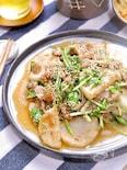 シャキうま褒められおかず♡『長芋と豚こまと水菜のポン酢炒め』