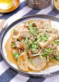 『シャキうま褒められおかず♡『長芋と豚こまと水菜のポン酢炒め』』