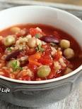 豆ともち麦入りトマトスープ
