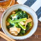 レンジで簡単副菜♩小松菜と油揚げの煮浸し